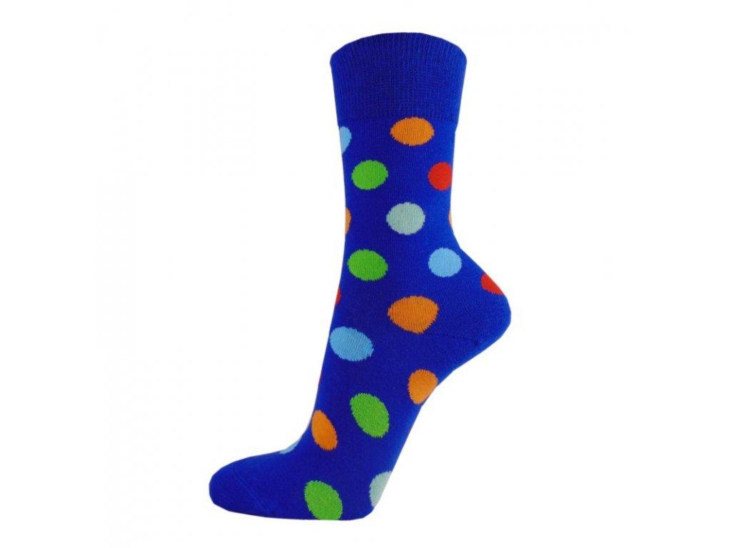 Veselé bavlněné ponožky PUNTÍKY TMAVĚ MODRÉ