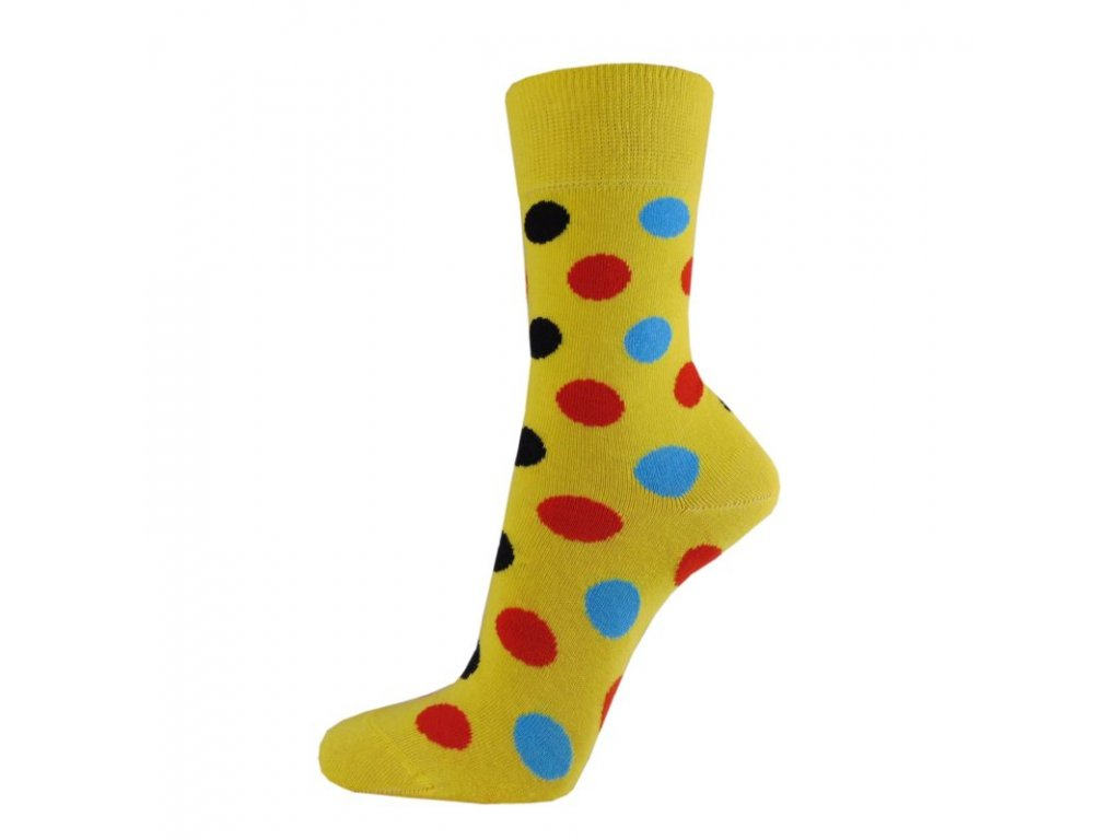 Veselé bavlněné ponožky PUNTÍKY ŽLUTÉ