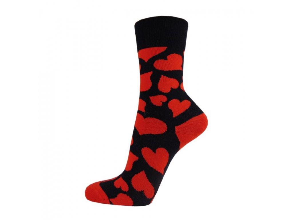 Veselé bavlněné ponožky SRDCE