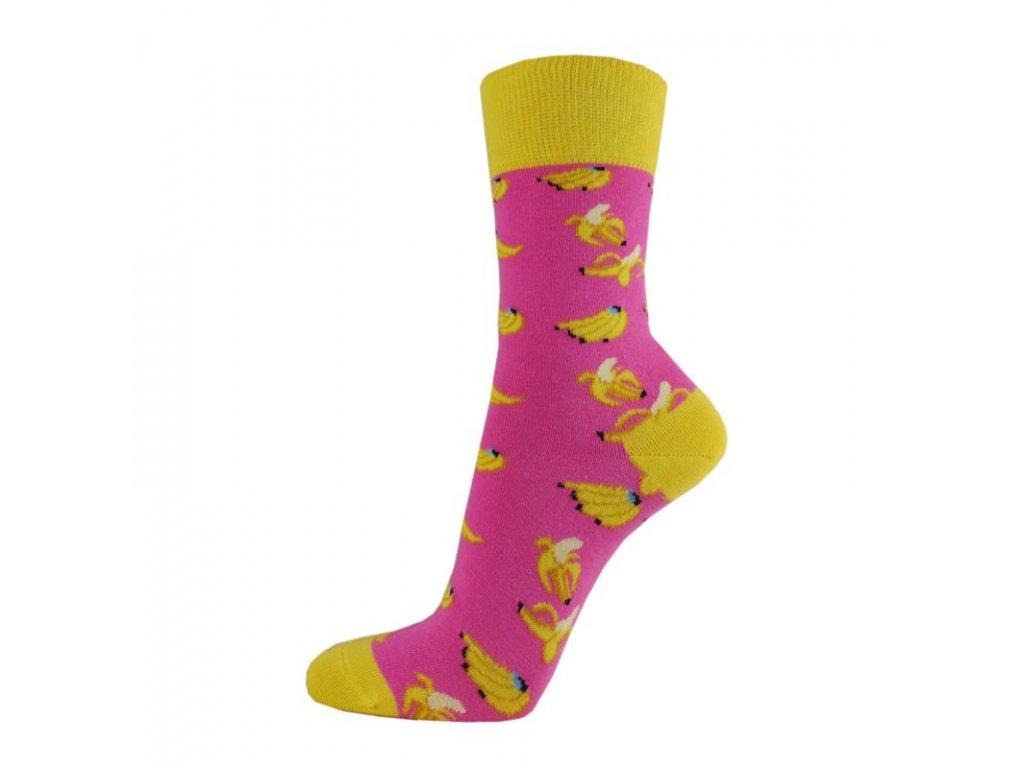 Veselé bavlněné ponožky BANÁN RŮŽOVÝ