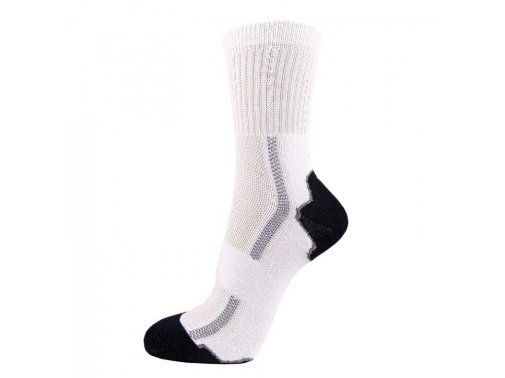 Bavlněné sportovní ponožky DYNAMIC - bílá + šedá