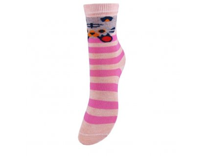 Veselé bavlněné dětské ponožky - KOČIČKA - růžové