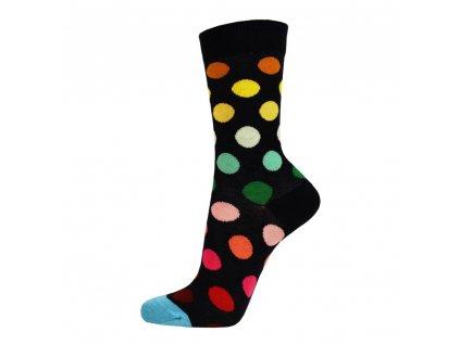 Veselé bavlněné ponožky PUNTÍKY ČERNÉ