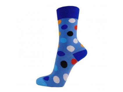 Veselé bavlněné ponožky PUNTÍKY SVĚTLE MODRÉ