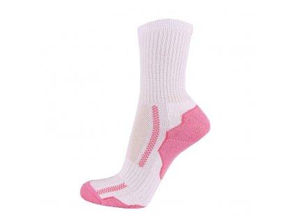 Bavlněné sportovní ponožky DYNAMIC - bílá + růžová