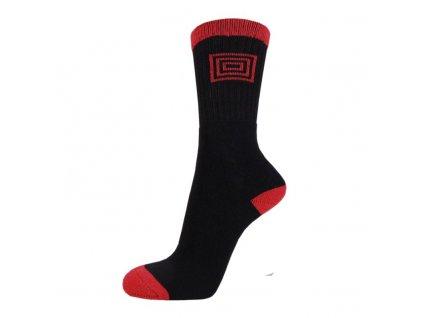 Profi Sport THERMO bavlněné ponožky - černá + červená
