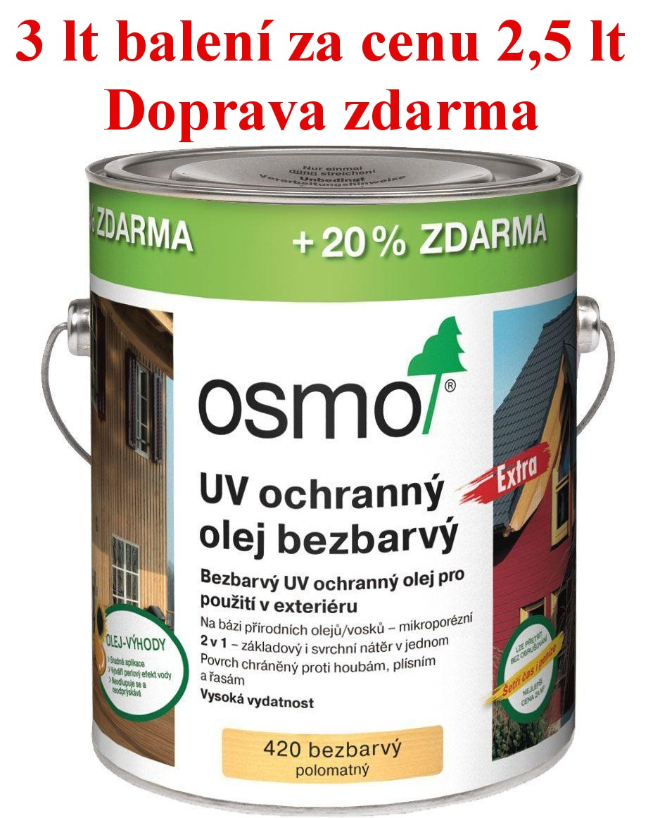 Osmo Olej UV 420 bezbarvý 3 lt (20% zdarma)