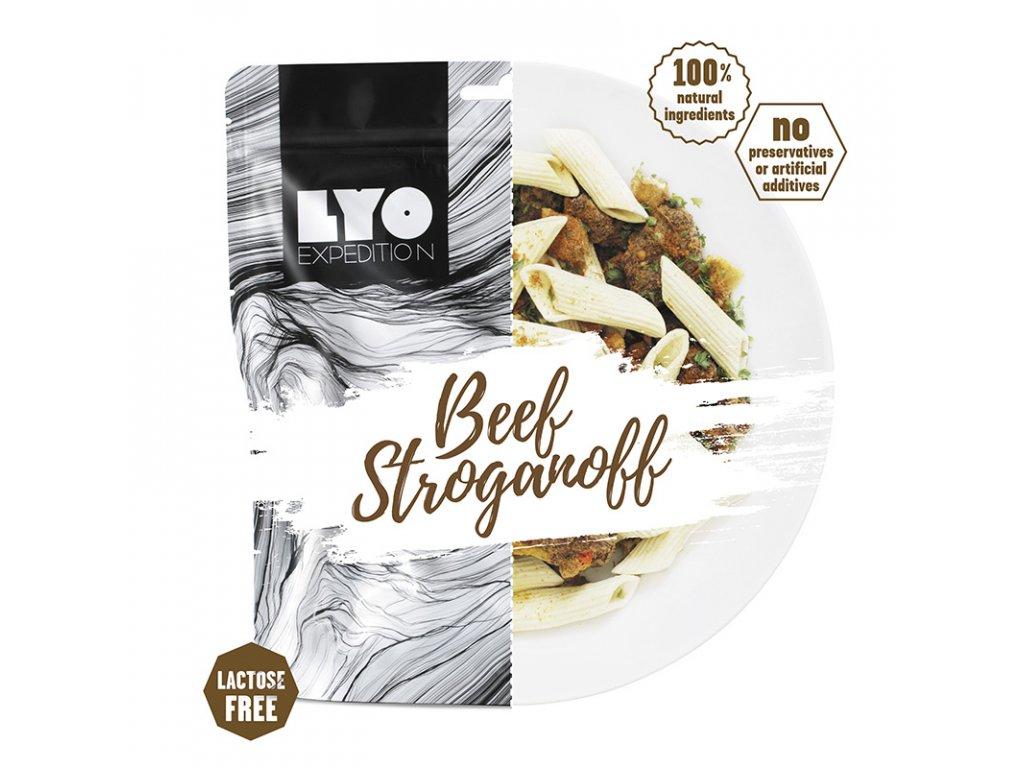 Hovězí Stroganoff; běžná porce