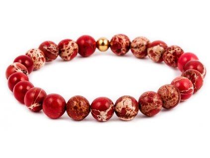 Dámský korálkový náramek - červený jaspis AAA, korálek Morinetti (Dámská velikost L (17,5 cm), Provedení Žluté 18k zlato, Velikost korálků 6 mm)
