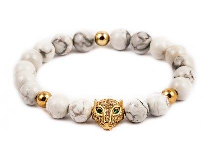Pánský korálkový náramek - howlit AAAA, leopard (Pánská velikost L (20 cm), Provedení Žluté 18k zlato, Velikost korálků 6 mm)