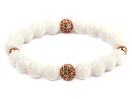 Dámský korálkový náramek - bílý porcelán AAAA, disko koule (Dámská velikost L (17,5 cm), Provedení Žluté 18k zlato, Velikost korálků 6 mm)