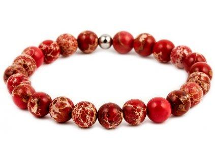 Pánský korálkový náramek - červený jaspis AAA, korálek Morinetti (Pánská velikost L (20 cm), Provedení Žluté 18k zlato, Velikost korálků 6 mm)