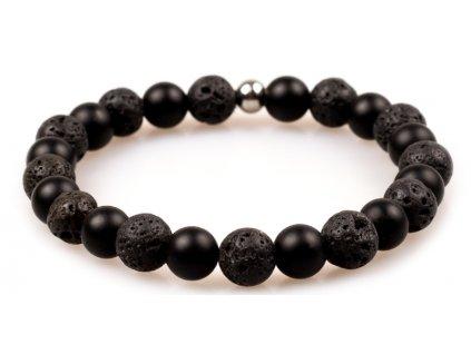 Pánský korálkový náramek - černý matný achát AAAA, lávový kámen, korálek Morinetti (Pánská velikost L (20 cm), Provedení Žluté 18k zlato, Velikost korálků 6 mm)
