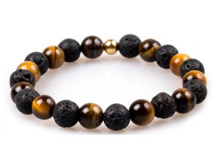 Pánský korálkový náramek - tygří oko AAAA, lávový kámen, korálek Morinetti (Pánská velikost L (20 cm), Provedení Žluté 18k zlato, Velikost korálků 6 mm)