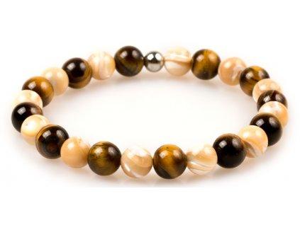 Dámský korálkový náramek - tygří oko AAAA, mořské lastury, korálek Morinetti (Dámská velikost L (17,5 cm), Provedení Žluté 18k zlato, Velikost korálků 6 mm)