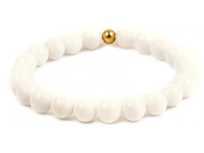 Dámský korálkový náramek - 8 mm, bílý porcelán AAA, korálek Morinetti - žluté zlato