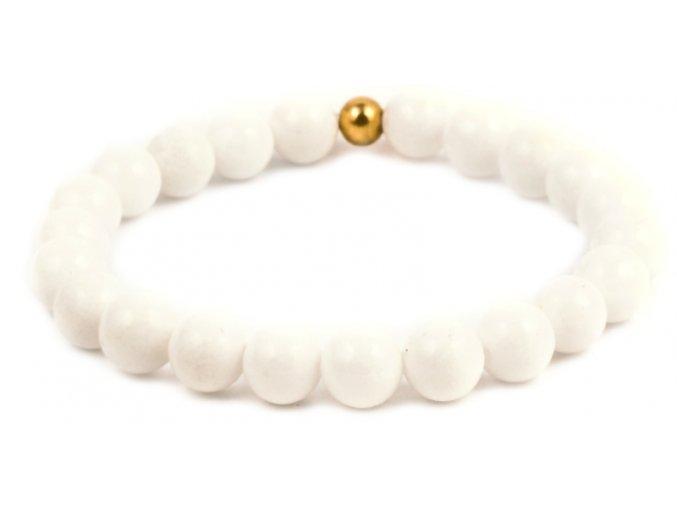 Dámský korálkový náramek - bílý porcelán AAA, korálek Morinetti