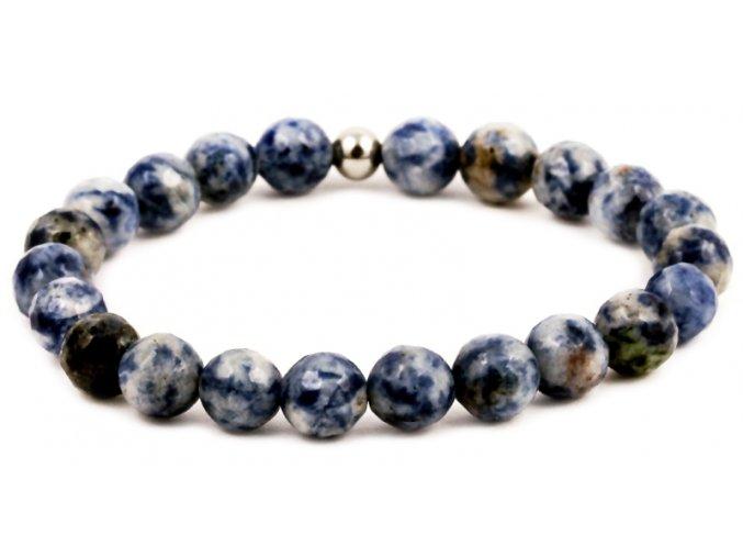 Pánský korálkový náramek - 8 mm, modrý jaspis AA, korálek Morinetti - bílé zlato