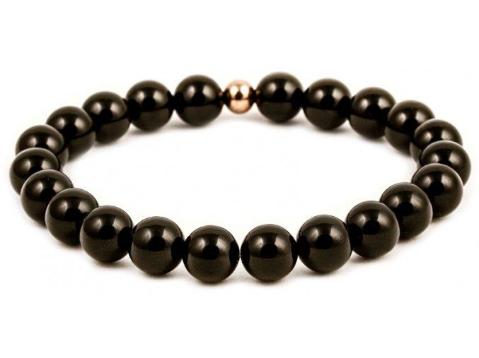 Pánský korálkový náramek - černý lesklý achát AAA, korálek Morinetti