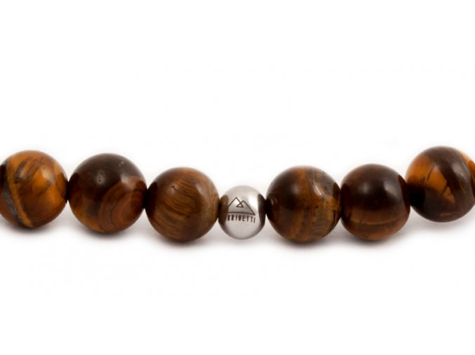 Pánský korálkový náramek - 8 mm, tygří oko AA, korálek Morinetti - bílé zlato