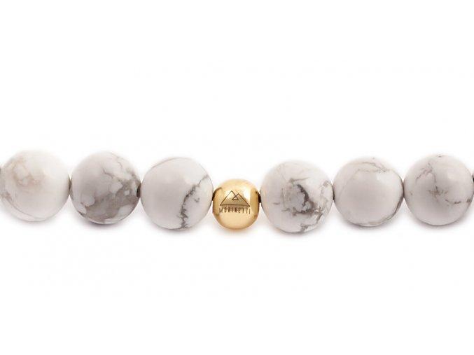 Dámský korálkový náramek - 8 mm, howlit AAA, korálek Morinetti - žluté zlato