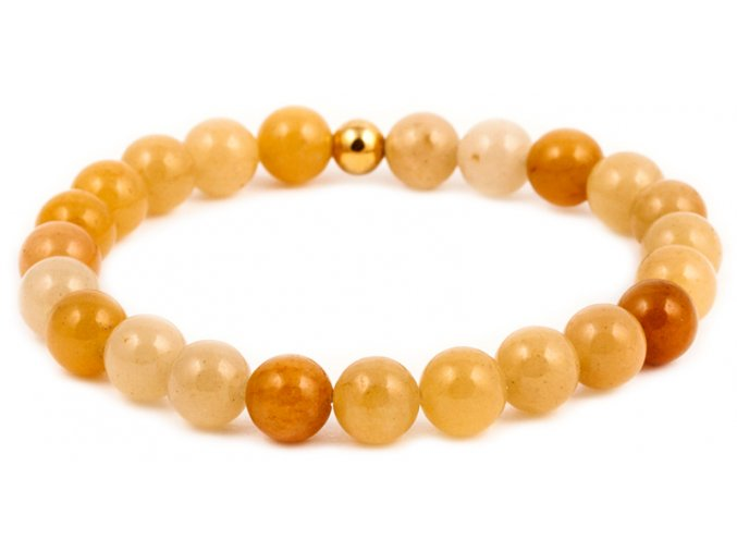 Dámský korálkový náramek - 8 mm, topaz AAA, korálek Morinetti - žluté zlato