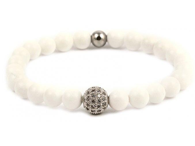 Dámský korálkový náramek - bílý porcelán AAA, disko koule
