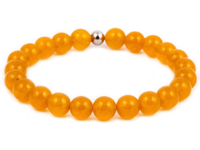 Dámský korálkový náramek - 8 mm, chalcedon AAA, korálek Morinetti - bílé zlato
