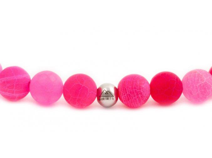 Dámský korálkový náramek - 6 mm, růžový achát AAA, korálek Morinetti - bílé zlato
