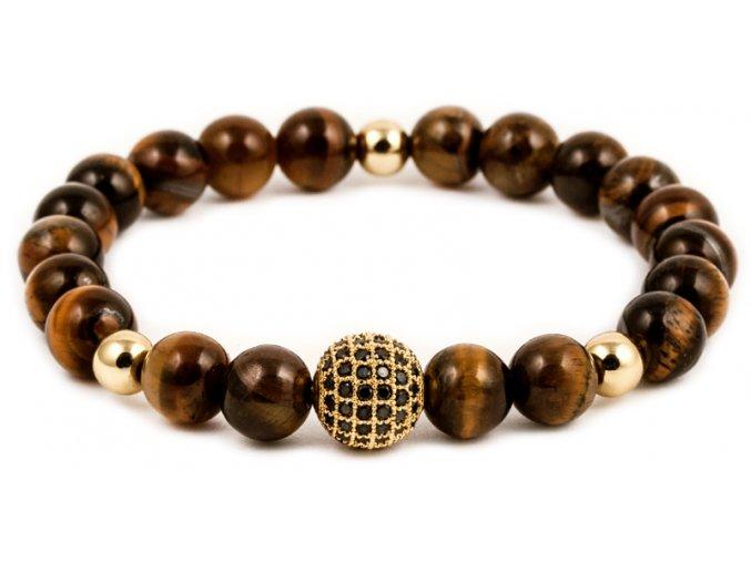 Pánský korálkový náramek - 8 mm, tygří oko AAAA, disko koule - žluté zlato