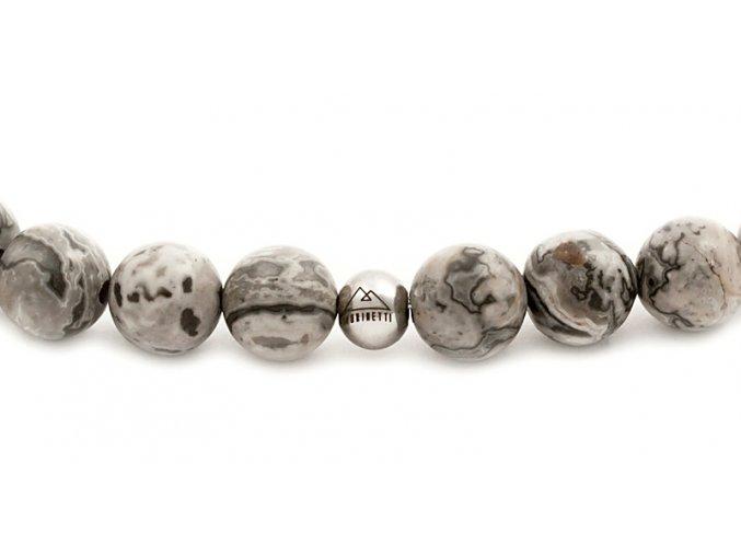 Pánský korálkový náramek - šedý jaspis AAAA, disko koule
