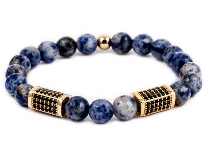 Pánský korálkový náramek - 8 mm, modrý jaspis AAAA, čtyřhran - žluté zlato