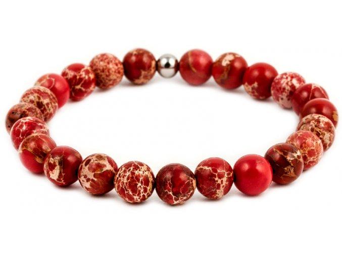 Pánský korálkový náramek - 8 mm, červený jaspis AAA, korálek Morinetti - bílé zlato