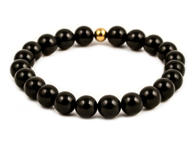 Dámský korálkový náramek - černý lesklý achát AAA, korálek Morinetti