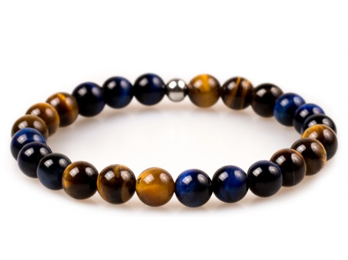 Pánský korálkový náramek - tygří oko AAAA, Lapis Lazuli, korálek Morinetti