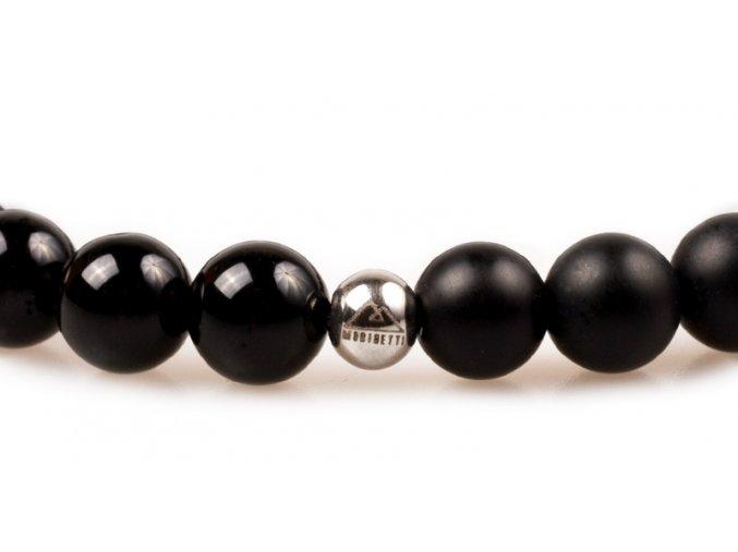 Pánský korálkový náramek - černý lesklý achát AAAA, černý matný achát, korálek Morinetti
