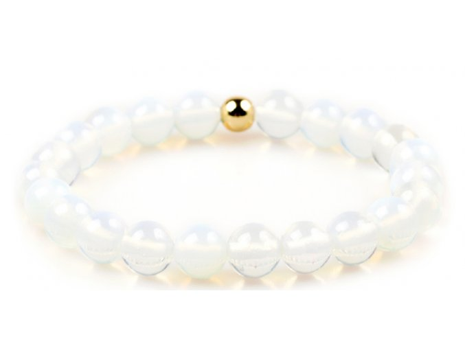 Dámský korálkový náramek - bílý opál AAA, korálek Morinetti