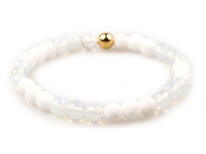 Dámský korálkový náramek - bílý opál AAAA, bílý porcelán, korálek Morinetti