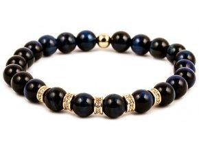 Pánský korálkový náramek ROYAL - 8 mm, Lapis Lazuli AAAA, korálek Morinetti - žluté zlato