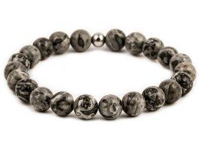 Pánský korálkový náramek - šedý jaspis AAA, korálek Morinetti
