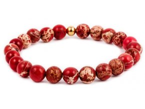 Dámský korálkový náramek - 8 mm, červený jaspis AAA, korálek Morinetti - žluté zlato