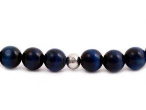 Pánský korálkový náramek - 8 mm, Lapis Lazuli AAA, korálek Morinetti - bílé zlato