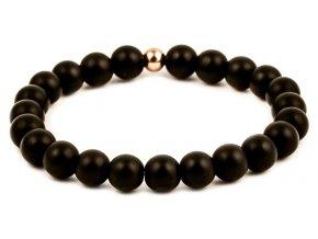 Pánský korálkový náramek - černý matný achát AAA, korálek Morinetti