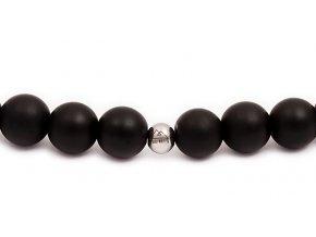 Pánský korálkový náramek - 8 mm, černý matný achát AAAA, čtyřhran - bílé zlato