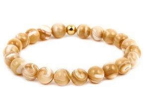 Dámský korálkový náramek - 8 mm, mořské lastury AAA, korálek Morinetti - žluté zlato