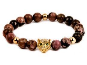 Dámský korálkový náramek - 8 mm, rodonit AAAA, leopard - žluté zlato