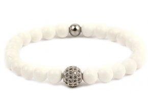 Dámský korálkový náramek - 6 mm, bílý porcelán AAA, Disko koule - bílé zlato