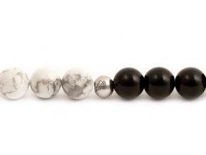 Pánský korálkový náramek JIN JANG - 8 mm, černý lesklý achát AAAA, howlit, disko koule - bílé zlato