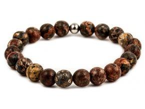 Pánský korálkový náramek - 8 mm, leopardí jaspis AA, korálek Morinetti - bílé zlato