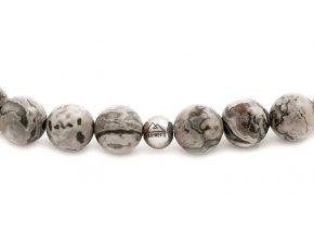Pánský korálkový náramek - 8 mm, šedý jaspis AAAA, disko koule - bílé zlato